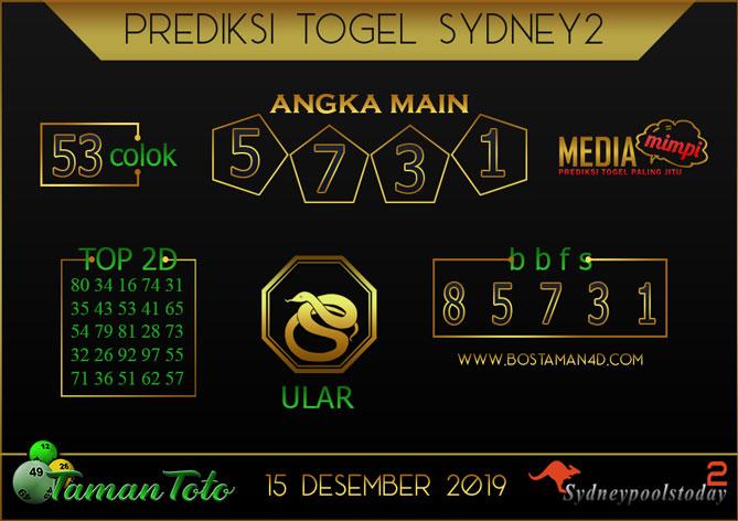 Prediksi Togel SYDNEY 2 TAMAN TOTO 15 DESEMBER 2019