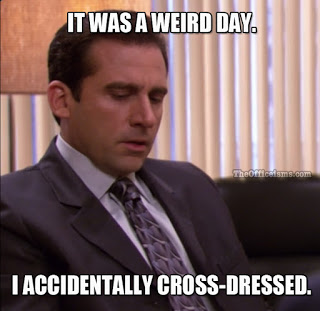 Office Memes from the Friday Frivolity Link-Up Party at Devastate Boredom - Michael Scott's Weird Day... Accidentally Cross-Dressed