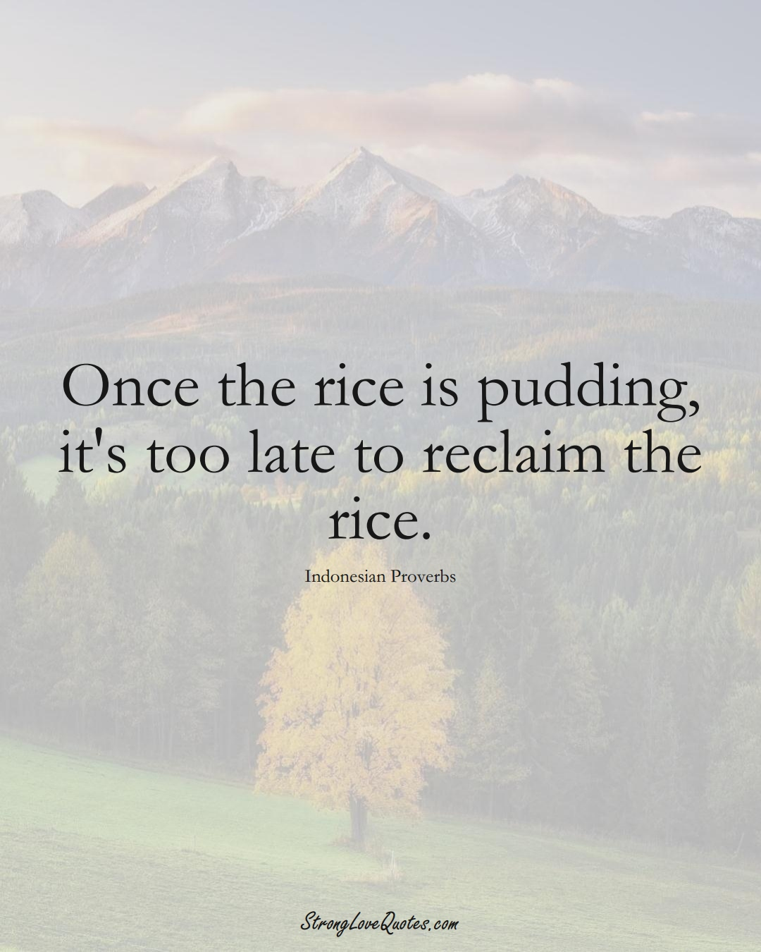 Once the rice is pudding, it's too late to reclaim the rice. (Indonesian Sayings);  #AsianSayings