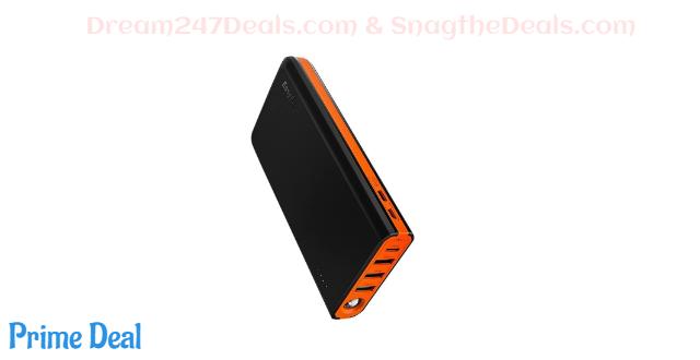 EasyAcc 20000mAh USB C QC power bank(black and orange) 50% off