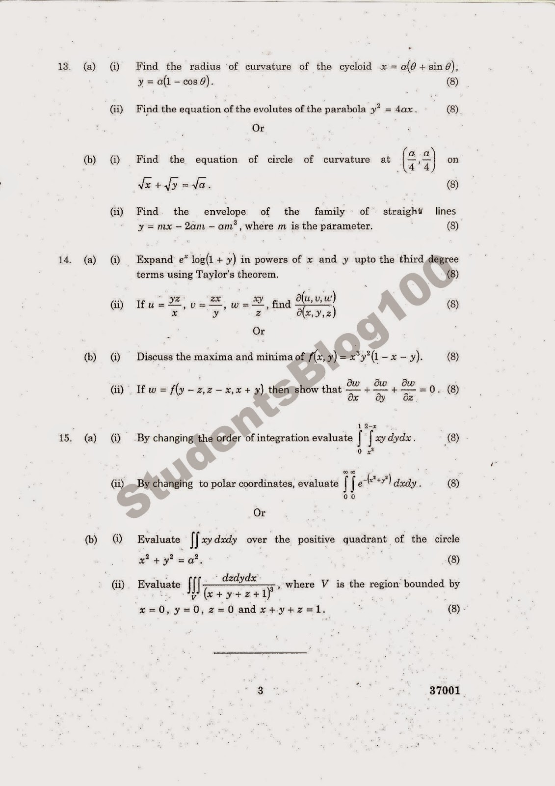 MA6151 ANNA UNIVERSITY MATHEMATICS-1 JAN-2014 QUESTION PAPER DOWNLOAD- REG 2013