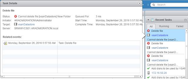 VMware VSAN: Error occured while deleting a folder