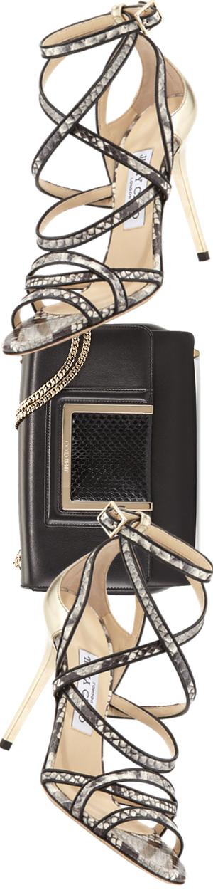 Jimmy Choo Alba Leather & Snakeskin Shoulder Bag, Black