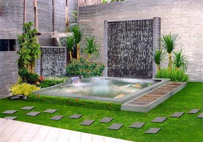 taman rumah minimalis dengan 2 buah air terjun