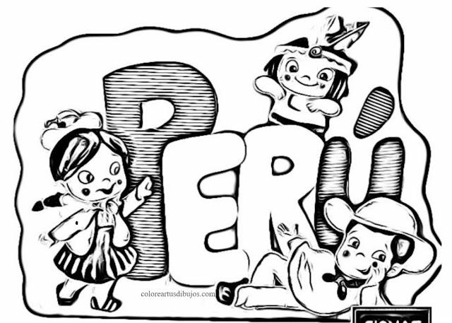 Perú dibujos para colorear