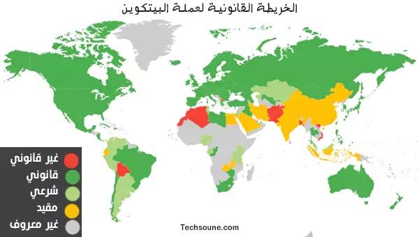خريطة حظر البيتكوين