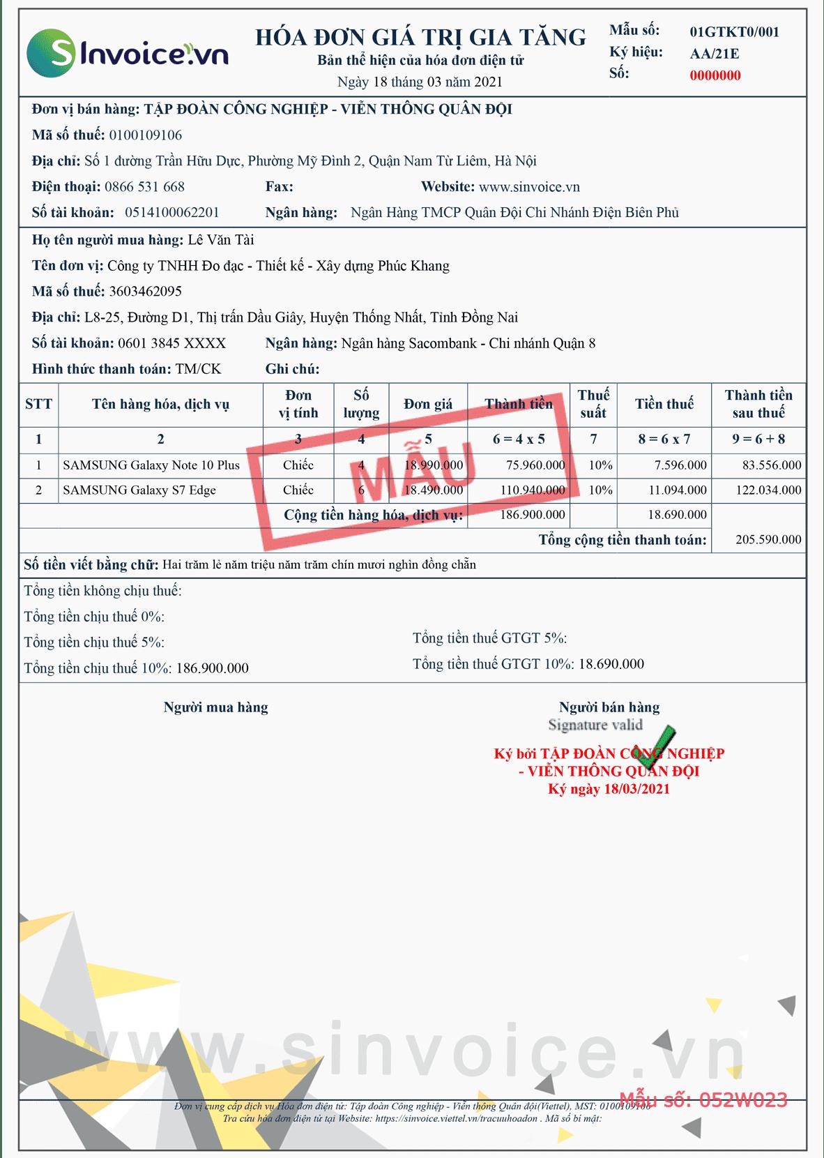 Mẫu hóa đơn điện tử số 052W023