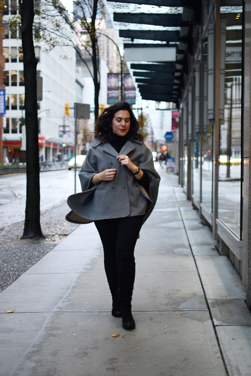 Noel Asmar cape Le Chateau wonder pant Geox over the knee mendi boots cute winter outfit vancouver fashion blogger