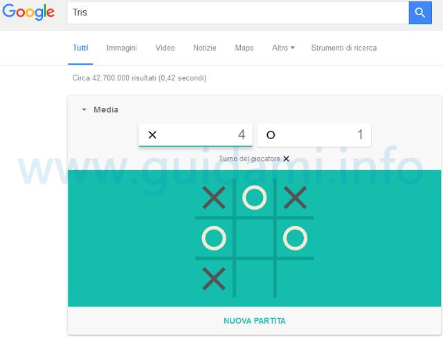 Gioco Tris nella ricerca Google