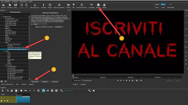salvare il video con sfondo trasparente