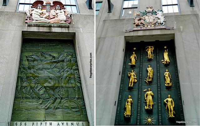 Detalhes da ornamentação art déco do Rockefeller Center, Nova York