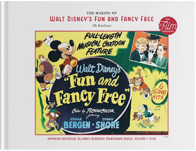 Book cover showing promotional materials for Fun and Fancy Free which shows Mickey Mouse as Jack, Willy the Giant, Donald Duck, Goofy, Bongo the Bear and Edward Bergen