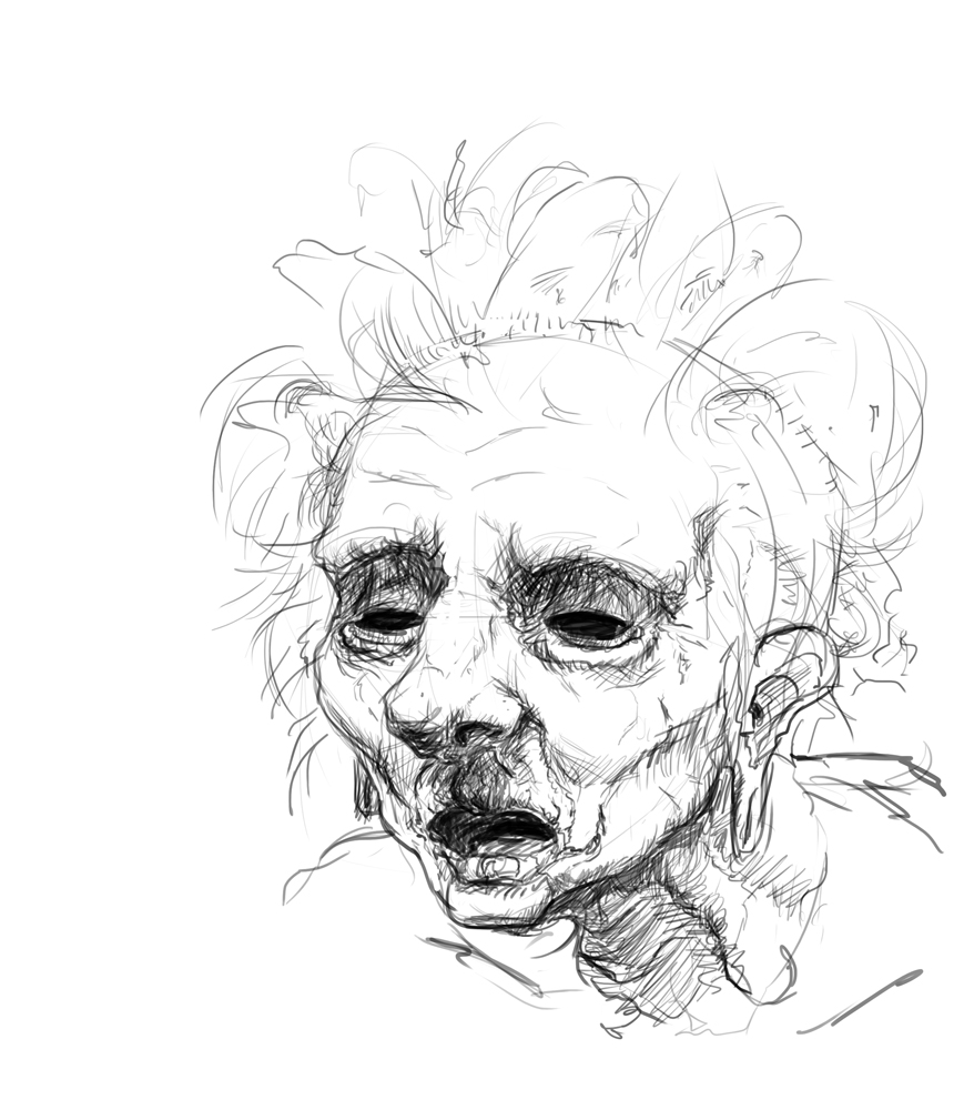 David's Daily Sketch-blog: Day 42: Old Ghost Lady Doodle