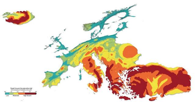 Ο σεισμικός χάρτης της Ευρώπης. Στις πρώτες θέσεις η χώρα μας!