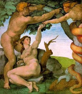 The temptation of Adam and Eve by the serpent