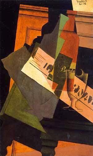 Frasco de Vidro e Jornal - Técnica de colagem e cubismo nas obras de Juan Gris