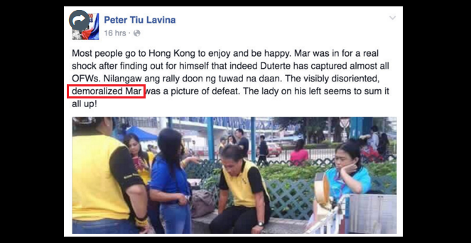 LP supporters cry foul over 'kawawa' photo of Roxas in Hong Kong