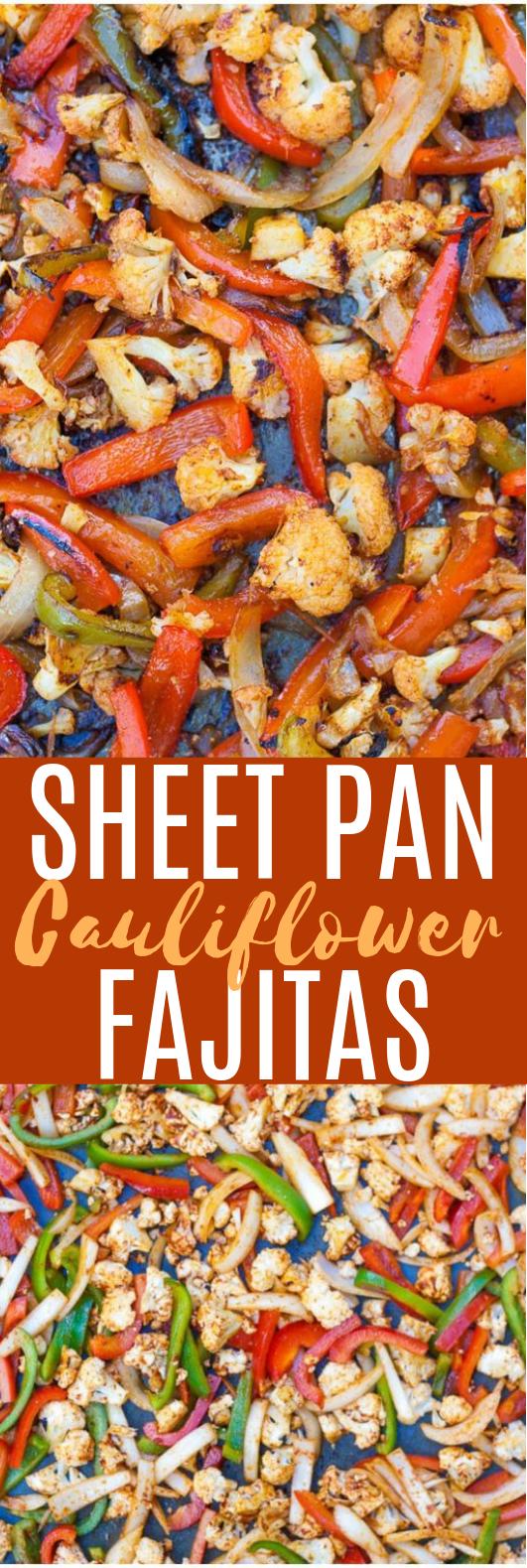 Sheet Pan Cauliflower Fajitas #vegan #cauliflower