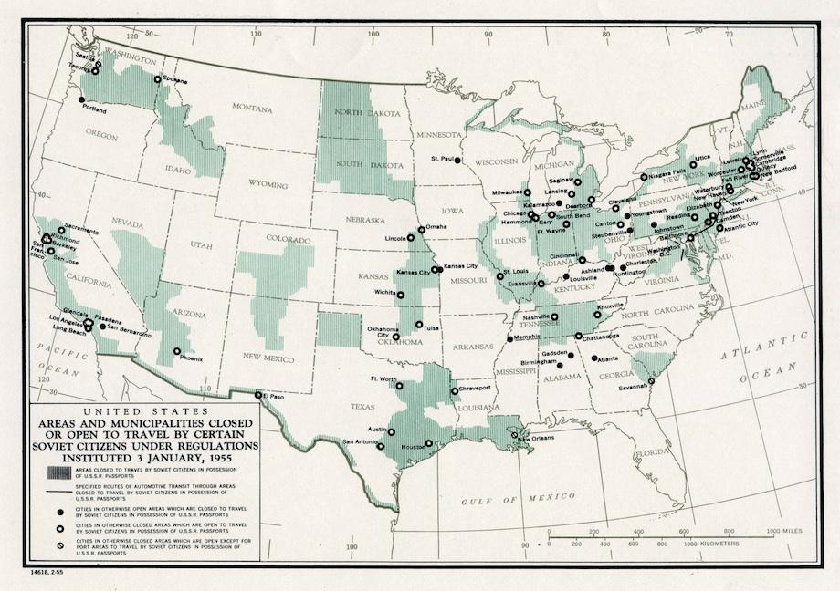 Areas in the USA closed to travel for USSR citizens
