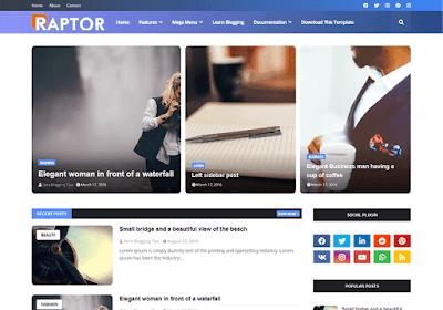 Raptor Template Blogger Magazine - Free