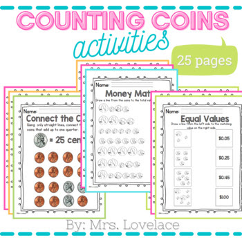 A set of pages to practice counting coins