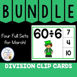 Division Facts 1 to 12 Clip Cards March Bundle