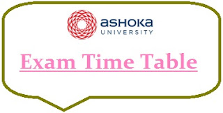 Ashoka University Exam Date Sheet 2020