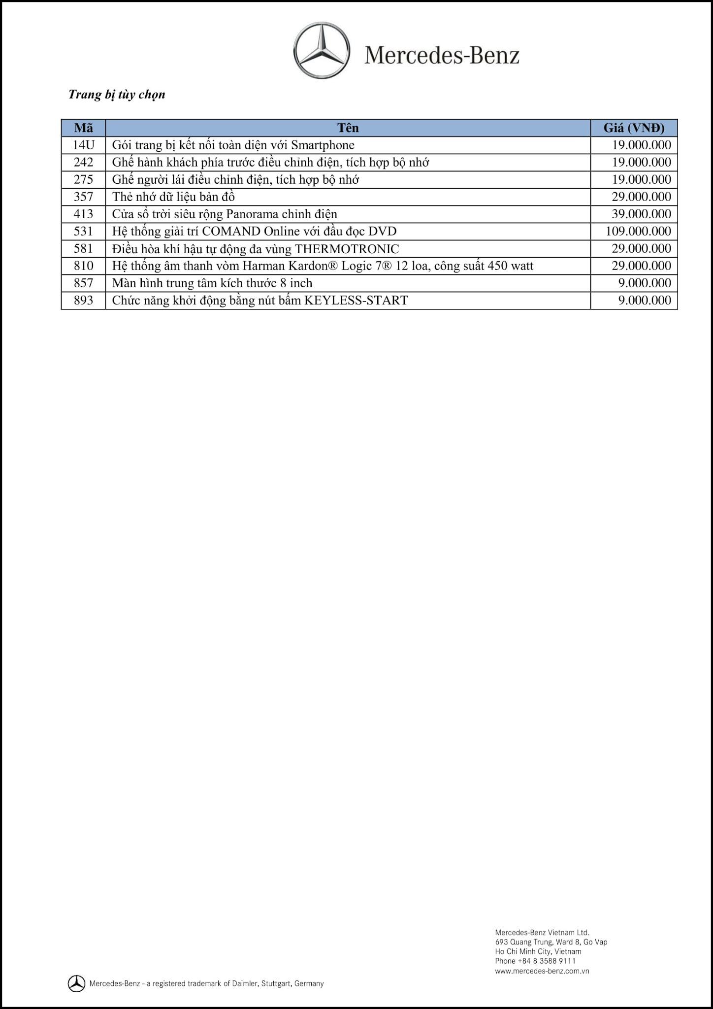 Bảng thông số kỹ thuật Mercedes A200 2018 tại Mercedes Trường Chinh