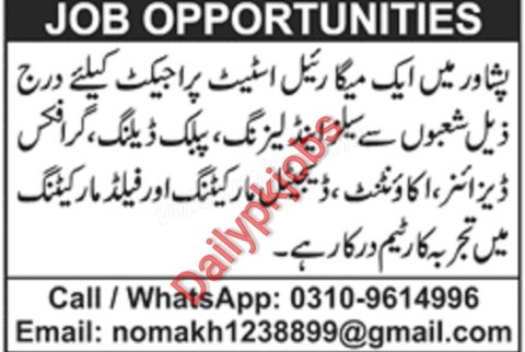 Latest Jobs Peshawer Mega Real Estate Project May 2021