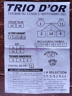 Pronostics quinté+ pmu Lundi Paris-Turf TV-100 % 27/09/2021