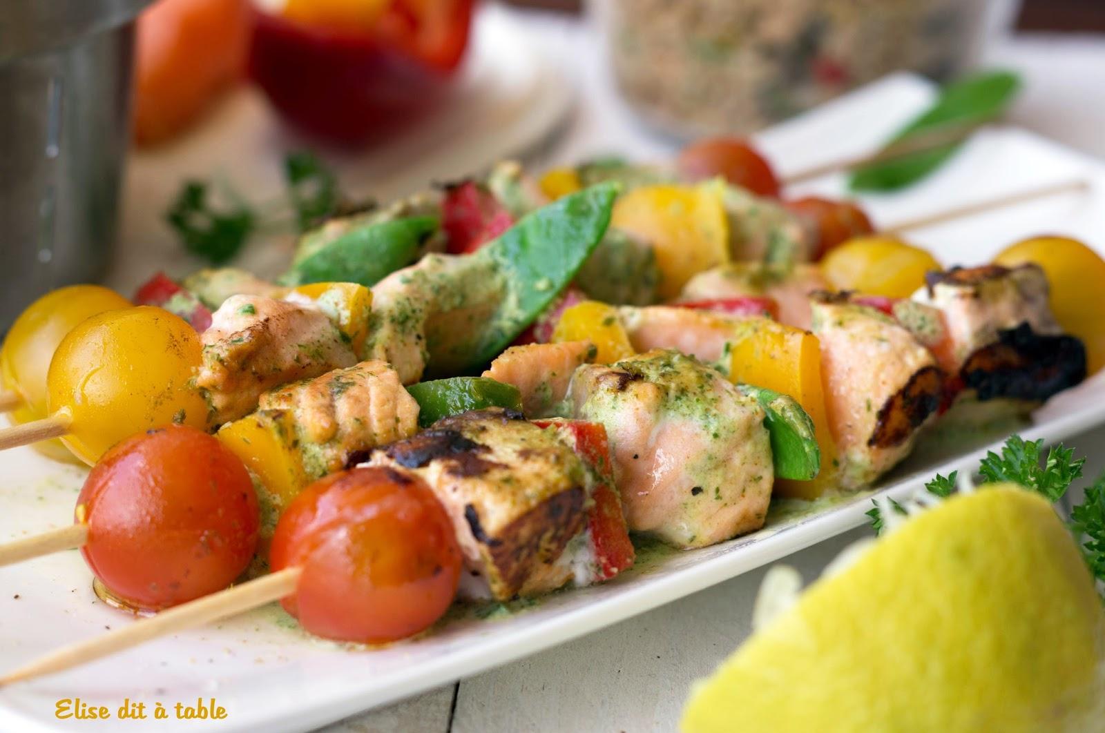 recette brochettes de saumon à la crème citron persillé