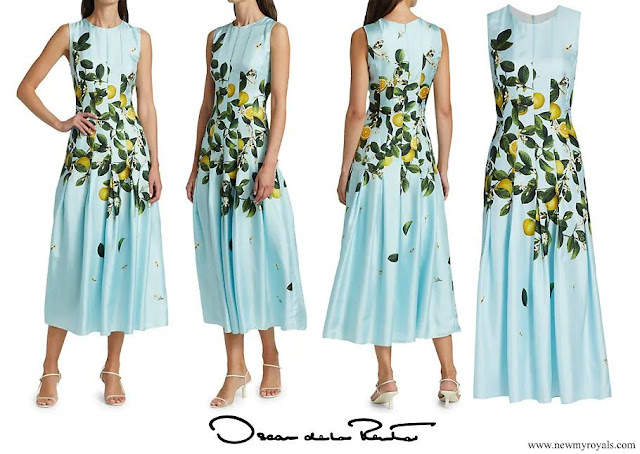 Crown Princess Sophie wore OSCAR DE LA RENTA Lemon Print Fit and Flare Midi Dress