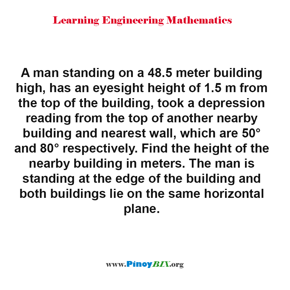 Find the height of the nearby building in meters