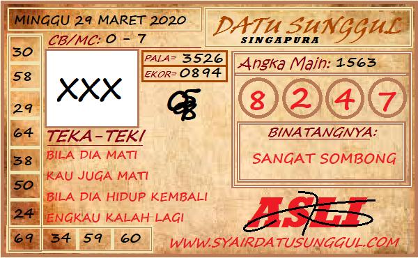 Prediksi SGP Minggu 29 Maret 2020 - Syair Datu Sunggul SGP
