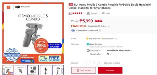 DJI Osmo Mobile 3 on Shopee