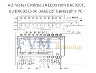 VU Meter Estéreo 24 LEDs com BA6820F, ou BA6822S, ou BA6822F Bargraph