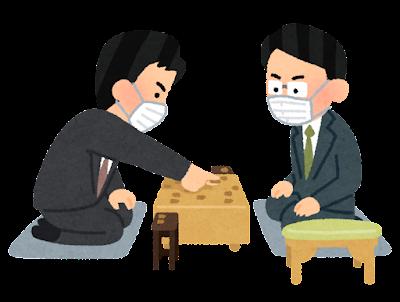 マスクを付けた将棋の対局のイラスト(男性)