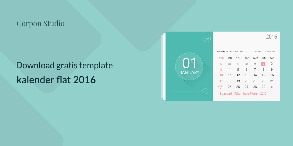 Download gratis Flat design Kalender template 2016