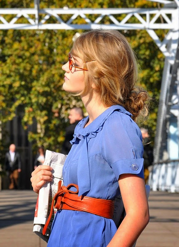 Obi Belt over a Light Blue Blouse, great outfit for school