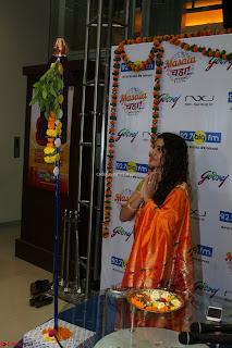 Marath Actrss Urmila Kanitkar Celetes Gudi Padwa in Orange Saree 16