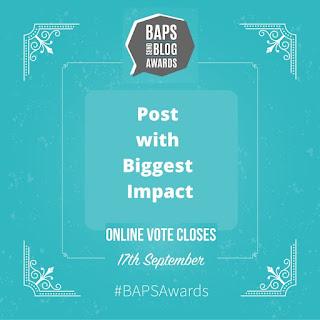 Teal coloured BAPS Awards logo badge