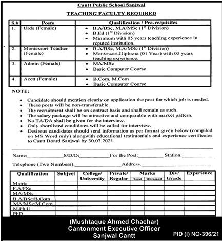 Teaching Faculty Jobs - Cantt Public School Sanjwal Latest Jobs 2021