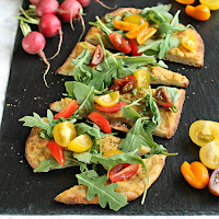 Hummus and Salad Appetizer Pizza