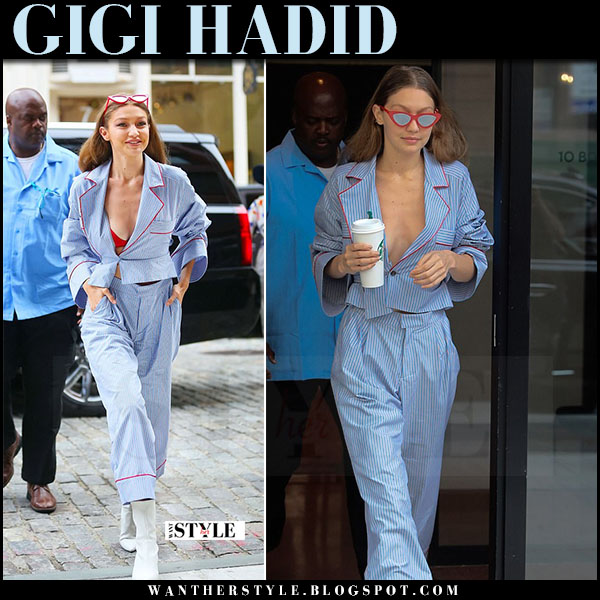 Gigi Hadid in blue striped pajama shirt and pants christian dada what she wore june 23 2017