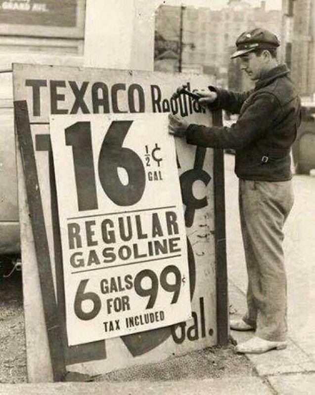 Gas pump from 1939 era advertising gasoline at 16½ cents a gallon.