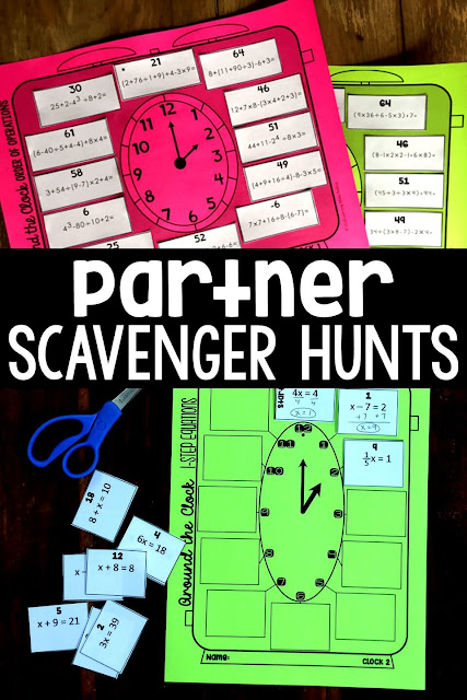 Partner scavenger hunt math activities get math students working together as they solve problems. Each student in a pair gets a unique set of problems to solve. The problems are different but the correct answers are the same! Students have incentive to work together until their answers match. Teachers re loving these activities for math review, stations, centers, partner work and even when their classes have a sub. You can check out all the middle and high school math partner scavenger hunts we have made so far in this post.