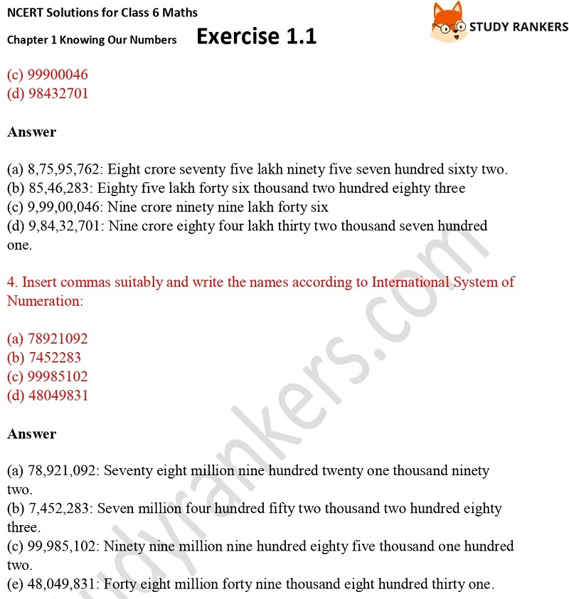 NCERT Solutions for Class 6 Maths Chapter 1 Knowing Our Numbers Exercise 1.1 Part 2
