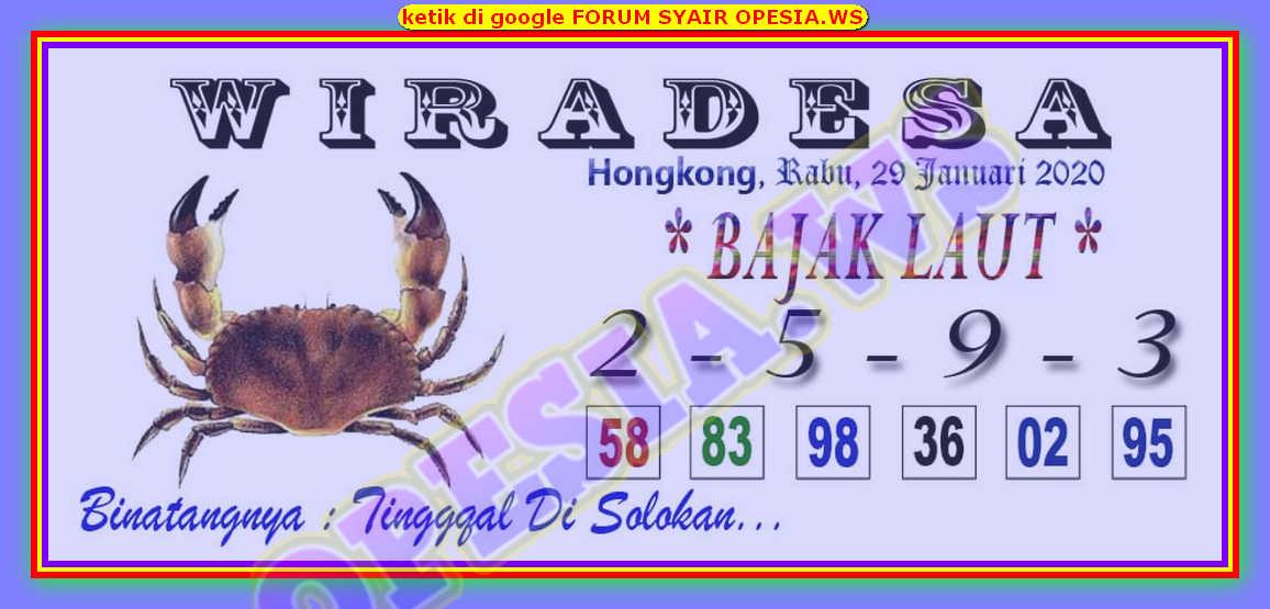 Kode syair Hongkong Rabu 29 Januari 2020 3