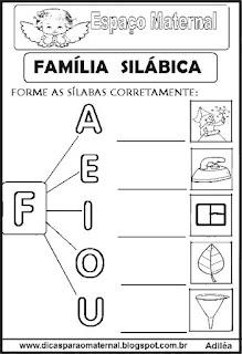 Família silábica alfabetização letra F