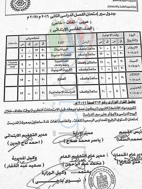 جدول امتحانات الصف الخامس الابتدائي 2017 الترم الثاني محافظة بورسعيد